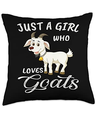 TeePrincess Cute Art Watercolor Just A Girl Who Loves Goats Throw Pillow, 18x18, Multicolor