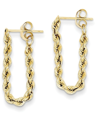 14K Yellow Gold High Polished Hollow Rope Post Dangle Earrings by Versil (Yellow)