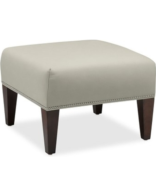 "Fairfax Square Ottoman, Tapered Leg, Untufted 26"", Faux Suede, Stone, Antique Brass"