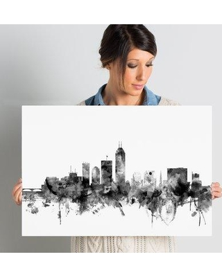"""Ivy Bronx 'Indianapolis IN Skyline' Graphic Art on Wrapped Canvas IVYB6623 Size: 16"""" H x 24"""" W x 2"""" D"""