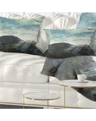 New Deals On Designart Mountain Peak Under Cloudy Sky Landscape Painting Throw Pillow Rectangle 12 In X 20 In Medium