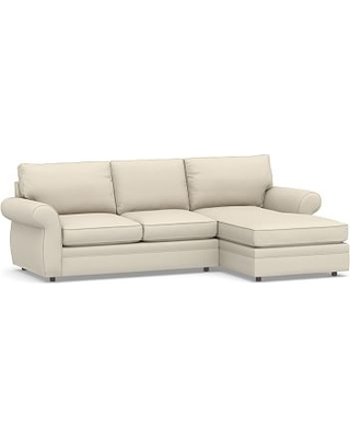 Pearce Roll Arm Upholstered Left Arm Loveseat with Chaise Sectional, Down Blend Wrapped Cushions, Performance Brushed Basketweave Ivory