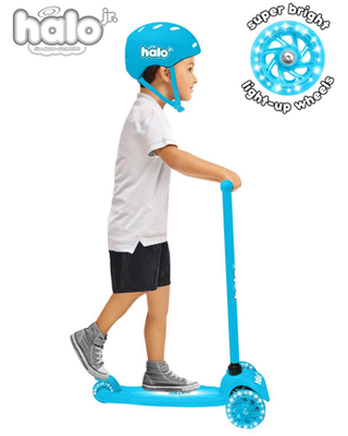 HALO Jr 3 Wheel Scooter Combo - Blue - 3 Wheel Scooter with Super-Bright Light Up Wheels + Size Adjustable Helmet