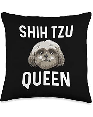 Best Pup Breed & Little Lion Fur Floppy Presents Funny Shih Tzu Gift For Women Mama Dog Puppy Owner Animal Throw Pillow, 16x16, Multicolor