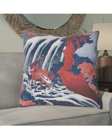 Bloomsbury Market Channelle Horse and Waterfall Indoor Euro Pillow BBMT6001 Color: Red/Blue