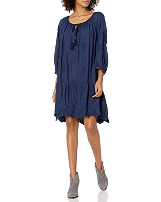 for Love and Liberty Women's Tiered Embroidered Mini Dress, Sapphire Blue, M