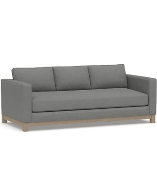 "Jake Upholstered Sofa 85"" with Wood Legs, Polyester Wrapped Cushions, Basketweave Slub Charcoal"