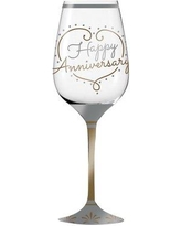 Le Prise Poitier Happy Anniversary 12 oz. Crystal Stemmed Wine Glass W000127301