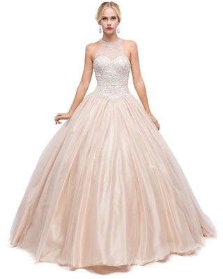 Dancing Queen Bridal - 1169 Sophisticated Halter Illusion Long Gown