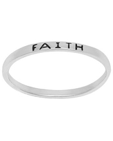 Itsy Bitsy Sterling Silver Faith Band Ring, 3