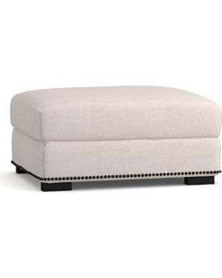 Turner Square Arm Upholstered Storage Ottoman with Bronze Nailheads, Polyester Wrapped Cushions, Performance Heathered Tweed Pebble