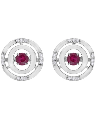 10K White Gold 1/10ct TDW Diamond and 1/10ct TDW Ruby Dancing Earrings (G-H, I2-I3)