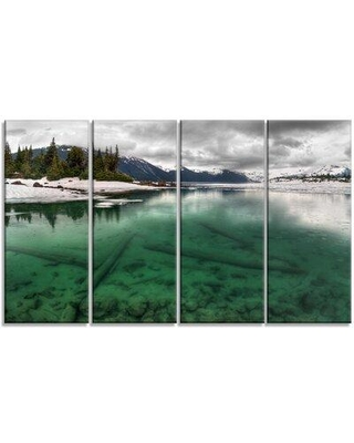 Design Art 'Crystal Clear Lake and Mountains' 4 Piece Photographic Print on Wrapped Canvas Set PT14406-271