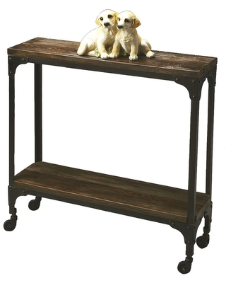 """32.25""""H Transitional Wooden Console Table in Mountain Lodge Finish - Multicolor"""