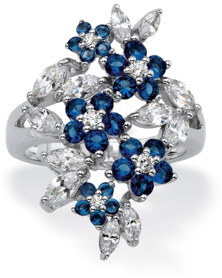 Silver Tone Simulated Sapphire and CZ Floral Cluster Ring (7)