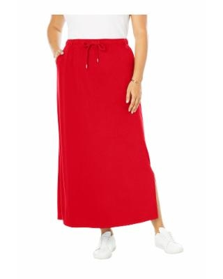 Plus Size Women's Sport Knit Side-Slit Skirt by Woman Within in Vivid Red (38/40) | Cotton