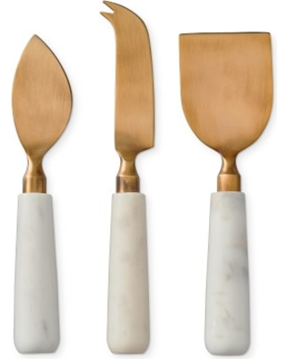 Marble & Brass Cheese Knives, Set of 3