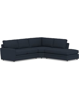 Pearce Square Arm Upholstered Left 3-Piece Bumper Wedge Sectional, Down Blend Wrapped Cushions, Performance Brushed Basketweave Indigo
