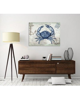 """Breakwater Bay 'Seaside Postcard: Crab' Graphic Art Print on Wrapped Canvas BKWT3314 Size: 12"""" H x 16"""" W"""