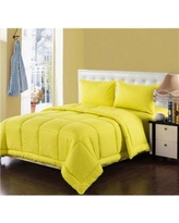 Tache Home Fashion Box Stitched Comforter Set 3-4PCOM-BOXES- Size: King, Color: Yellow