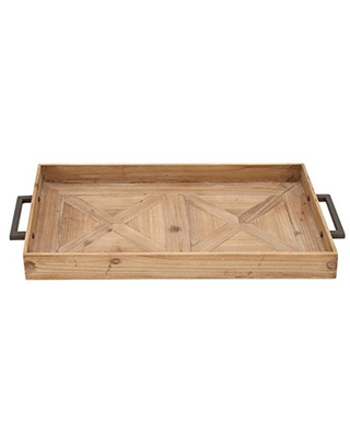 """Benzara Antique Colonial Simple Metal Tray, 3"""" H x 32"""" L, Natural Wood Finish"""