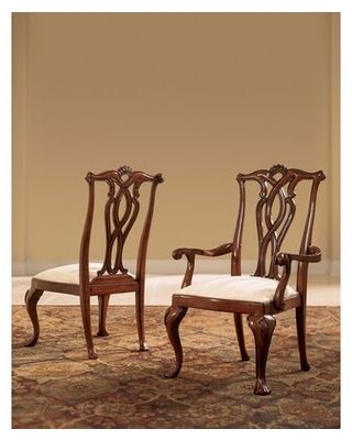 Find Deals On Staas Pierced Back Upholstered Queen Anne Back Side Chair In Cherry Set Of 2 Astoria Grand
