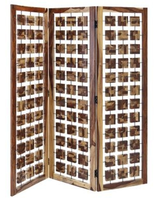 BM205787 Wooden 3 Panel Room Divider with Interconnected Square Blocks