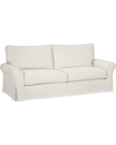 "PB Comfort Roll Arm Slipcovered Grand Sofa 92"", Box Edge Polyester Wrapped Cushions, Denim Warm White"