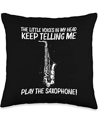 Funny Saxophone Player Woodwind Jazz Music Clothes Best Saxophone Gift For Men Women Musical Instrument Band Throw Pillow, 16x16, Multicolor
