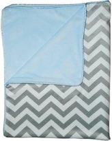 "Baby Doll Bedding Minky Chevron Crib Comforter, Cotton in Blue, Size 0 L x 35"" W 