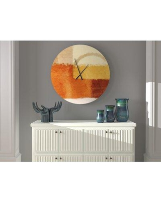New Deal On Ebern Designs Jocund Innovative Abstract Wall Clock Metal In Brown Beige Yellow Size Large Wayfair E7fa386c3c384d48b2ccceff728c498b