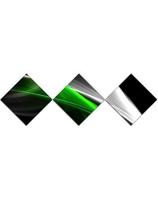 East Urban Home 'Fractal Lines Green White' Graphic Art Print Multi-Piece Image on Canvas URBR2129