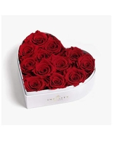 Heart Box of 12 Red Real Roses Preserved to Last Over a Year - Red