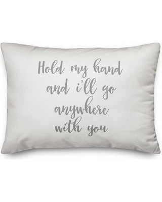 Ebern Designs The Lyell Collection Hold My Hand Throw Pillow W000002610 Color: Gray/White