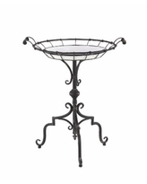 """Traditional 29"""" x 24"""" Round Iron and Wood Tray-Style Accent Table - Multi"""