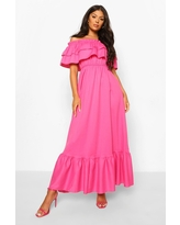Womens Ruffle Off The Shoulder Maxi Dress - Pink - 4
