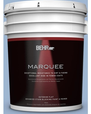BEHR MARQUEE 5 gal. #PPU14-10 Blue Suede Flat Exterior Paint and Primer in One