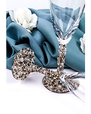 Crystal and Pearl Wedding Toast Flutes Bling Wedding Glasses for Bride and Groom Gold Champagne Toasting Glasses for Wedding