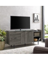 """Wrought Studio™ Pillar TV Stand for TVs up to 65"""", Wood in Slate Gray 