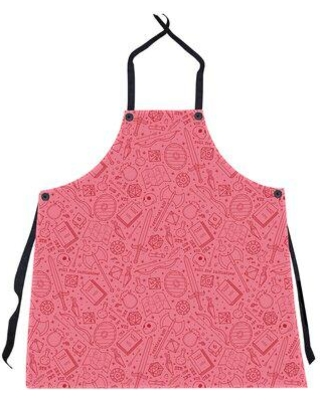East Urban Home Lines RPG Pattern Apron W000548494 Color: Red