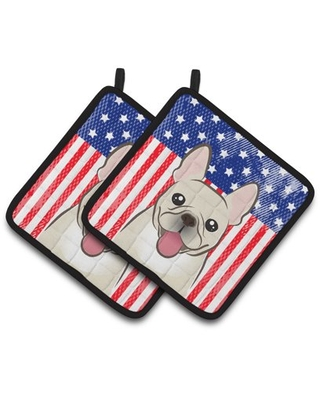 American Flag and French Bulldog Pair of Pot Holders