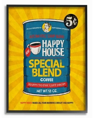 Stupell Industries Happy House Coffee Vintage Comic Book Design Framed Wall Art by Ester Kay