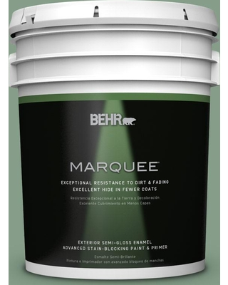 BEHR MARQUEE 5 gal. #S410-5 Track Green Semi-Gloss Enamel Exterior Paint and Primer in One