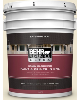 BEHR Premium Plus Ultra 5 gal. #330E-1 Informal Ivory Flat Exterior Paint and Primer in One