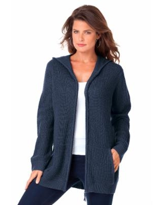 Plus Size Women's Thermal Hoodie Cardigan by Roaman's in Navy (Size Small)