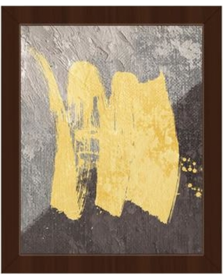 """Click Wall Art 'Brush Divide Gray' Framed Painting Print on Canvas ABS0011891FRA Format: Espresso Framed Size: 16.5"""" H x 13.5"""" W"""