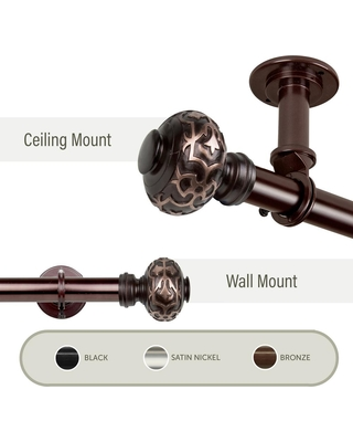 Rod Desyne Maple Ceiling 48 in. - 84 in., 1 in. Dia Single Curtain Rod/ Room Divider in Bronze