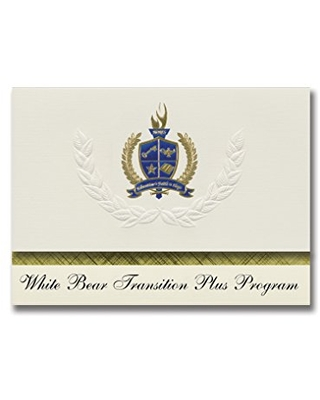 Signature Announcements White Bear Transition Plus Program (Hugo, MN) Graduation Announcements, Presidential style, Elite package of 25 with Gold & Blue Metallic Foil seal