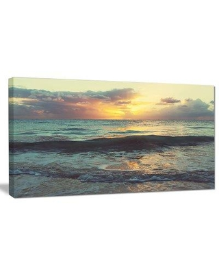 """Design Art 'Colorful Bluish Waters at Sunset' Photographic Print on Wrapped Canvas, Canvas & Fabric in Yellow/Blue, Size 16"""" H x 32"""" W 