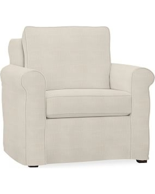 Cameron Roll Arm Slipcovered Armchair, Polyester Wrapped Cushions, Sunbrella(R) Performance Sahara Weave Ivory